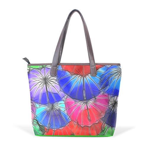NaiiaN Geldbörse Shopping Leder Bunte Kunst Regenschirm Schöne Handtaschen für Frauen Mädchen Damen Student Keepers Umhängetaschen Leichte Strap Tote Bag