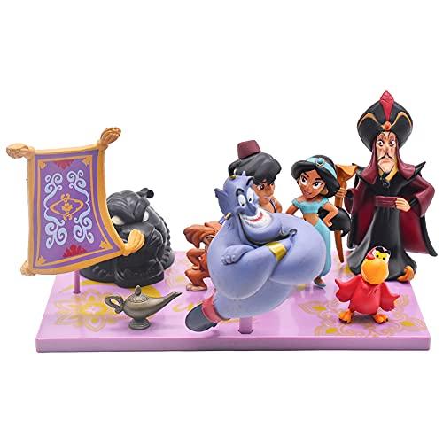 Hilloly 10 pcs Decoración para Tarta Aladdin Princesa Cake Topper Mini Juego de Figuras Niños Fiesta de cumpleaños Pastel Decoración Suministros Decoración Fiesta de Boda