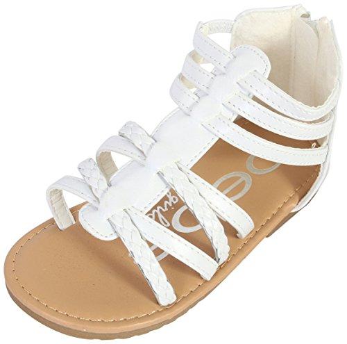 bebe Toddler Girls' Sandals – Leatherette Strapped Gladiator Sandals with Heel Zipper (Toddler) (8 M US Toddler, White)