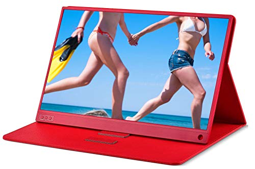 Portable Monitor - ZSCMALLS 15.6 Inch Full HD 1080p HDR Gaming Monitor, USB Type C Mini HDMI Computer Display IPS Screen with Stereo Speakers for PS3 PS4 Xbox Raspberry Pi Laptop PC MAC Red