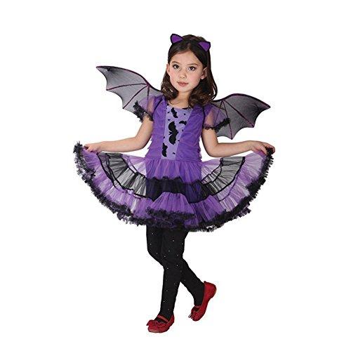 JT-Amigo Disfraz de Murciélago para Niña Halloween, 3-4 años