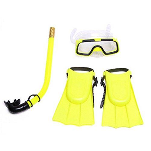 Hinmay Premium - Equipo de buceo para niños de tres piezas máscara de natación antiniebla, tubo de esnórquel y aletas de buceo, para niños, para piscina, buceo, amarillo