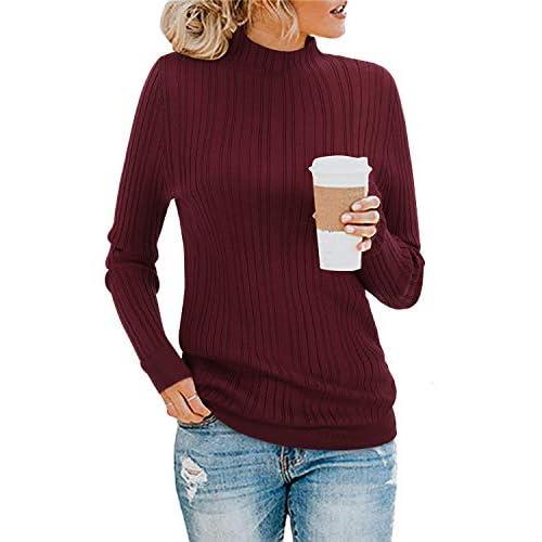 KILIG Women's Long Sleeve Pullover Sweater Turtleneck Jumper Knitwear Top