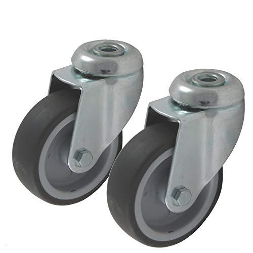 Apparaterollen Geräterollen 2 Stück 50 mm Rad aus Gummi grau, Befestigung Rückenloch, Einbau als Lenkrolle Schwenkrolle Drehrolle lenkbar drehbar schwenkbar (50 mm)