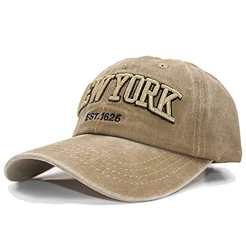 Dariobee Gorra de béisbol para Hombre Vintage Gorra Transpirable Bordado New York Ajustable de algodón Gorros Classic Unisex Sombreros de Gorra Deportes de Sol Pare Verano