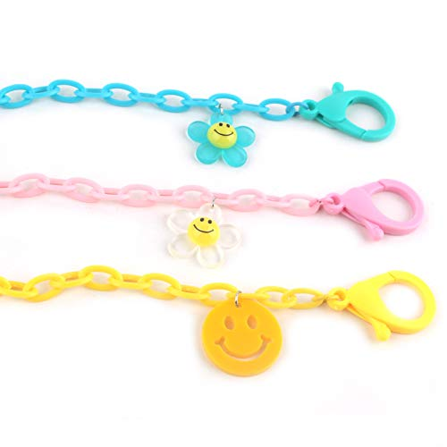 """Smile Flower Face Mask Acrylic Chain Double Clip Lanyard Necklace Holder Strap 19.5"""" Long (3 Pack - Kids)"""