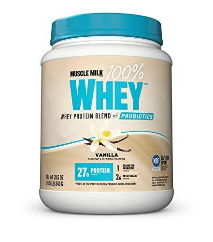 Muscle Milk 100% Whey Powder Blend with Probiotics, Vanilla, 27g Protein, 1.85 Pound
