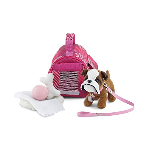 Emily Rose 18 Inch Doll Accessories | Doll Puppy Set - Pet Carrier and Bulldog Puppy Dog with Leash, Collar and Dog Tag, Includes Plush Pet Bed, Blanket, Bone and Ball | Fits American Girl Dolls