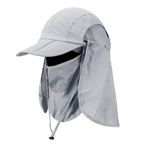Foldable Sun Cap, Fishing Hats, UPF 50+ Protection Caps with Face Mask Neck Flap Light Gray