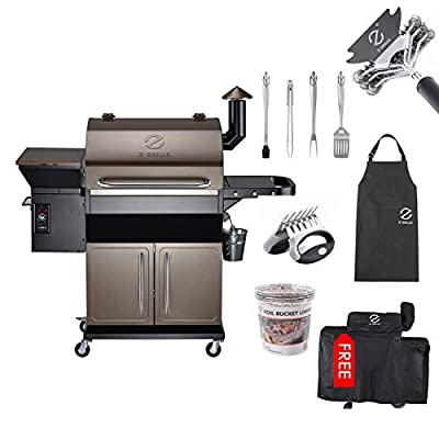 Z GRILLS Pellet Grill with Ash Clean System 1000 SQ in Grilling Area Fashion Combination -6 Accessories Grill Cover+BBQ Tool Sets+Grill Cleaning Brush+zgrills Apron+zgrills Cap+foil Bucket Liner
