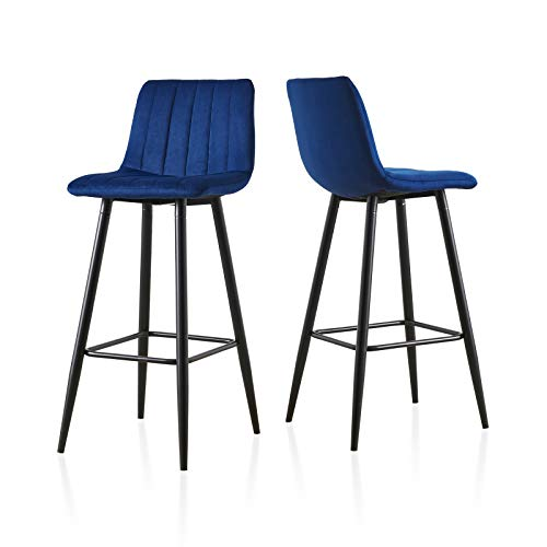 TUKAILAI High Bar Stools Set of 2 with Velvet Covered Backrest and Metal Footrest and Base for Breakfast Bar High Stool Kitchen and Home Blue