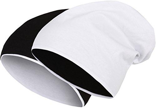 2 in 1 Wendemütze - Reversible Slouch Long Beanie Jersey Baumwolle elastisch Unisex Herren Damen Mütze Heather in 24 (8) (Black/White)