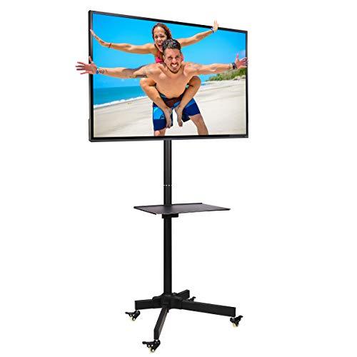 """Ergosolid Soporte con Ruedas Ajustable Universal para TV LCD LED, 32""""- 55"""" (81 a 140 cm de diagonal), Inclinación, Negro con VESA máx. 400 x 400 mm, hasta 25 kg"""