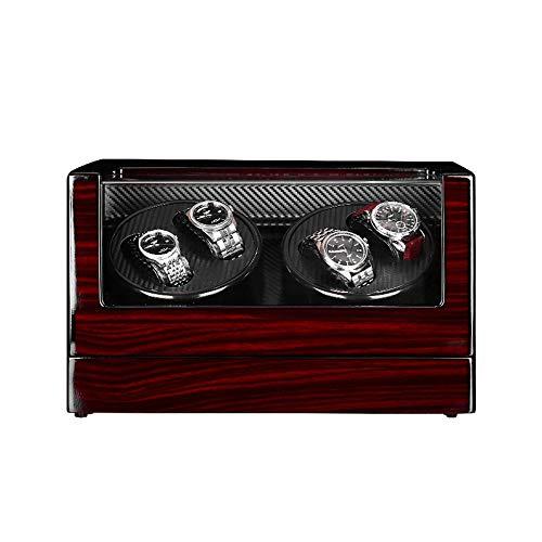 ZNND Watch Mira Winder Box 4, Exterior Pintura Piano Concha Madera, 4 Configuración Modo Rotación, Motor Extremadamente Silencioso, for Relojes Todos Los Tamaños (Color : Red, Size : A)