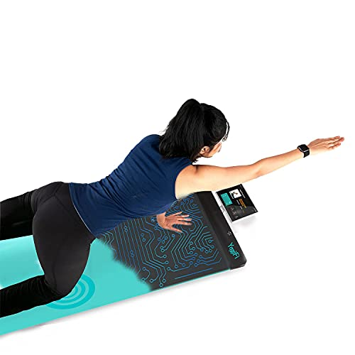 YogiFi Smart Non-Slip Meditation Travel Yoga Mat - Exercising Pad, Strength, Endurance & Balance Training, Home Gym Workouts - Great for Women & Men of All Ages   6mm Thick with Artificial Intelligence(AI) for Interactive and Real Time Posture Feedback (Grey)