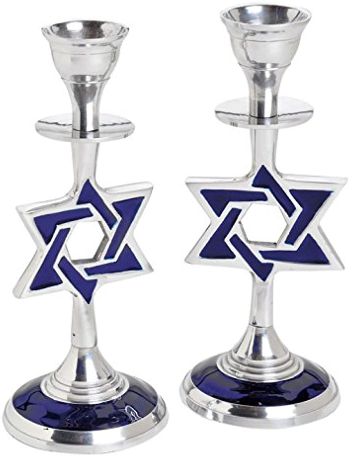 bluee Enamel Star of David Aluminum Shabbat Candlesticks   Set of 2