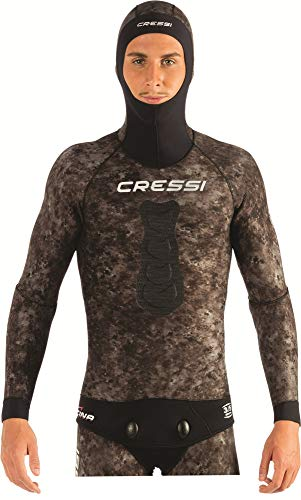 Cressi Tracina Jacket Wetsuit, Giacca Muta Pesca in Neoprene Spaccato Microporoso Supersoft - Disponibile Negli Spessori 3.5/5/7 mm Uomo, Mimetico 7 mm, XXL/6