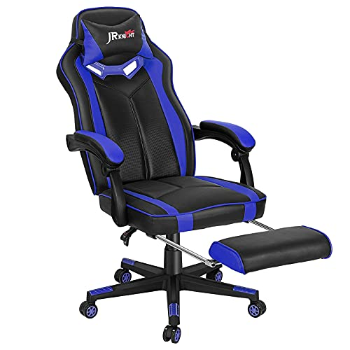 JR Knight Gaming Chair with Footrest, Home Office Desk Executive Chair, Adjustable Swivel PU Leather Reclining Ergonomic Computer Chair (Blue)
