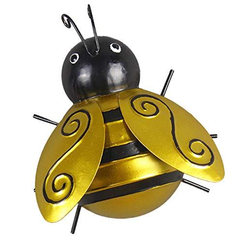 Sculpture 3D D'abeille D'art Mural En Métal, Décoration Murale Inspirante Suspendue Pour Intérieur Et Extérieur, Suspension Murale D'abeille En Métal Pour Mur De Salon De Maison De Clôture De Jardin