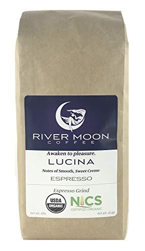 River Moon Coffee, Organic Ground Espresso, Fine Espresso Grind, 16 Ounces, Italian Style Medium Roast, USDA Organic Certified, Non GMO, Direct Trade, 100% Arabica, Lucina Blend