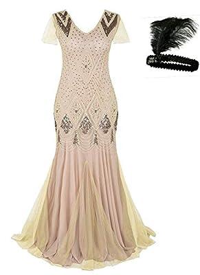 MAYEVER Women 1920s Long Prom Gown Beaded Sequin Mermaid Hem Ball Evening Dress with Sleeve Headband Free