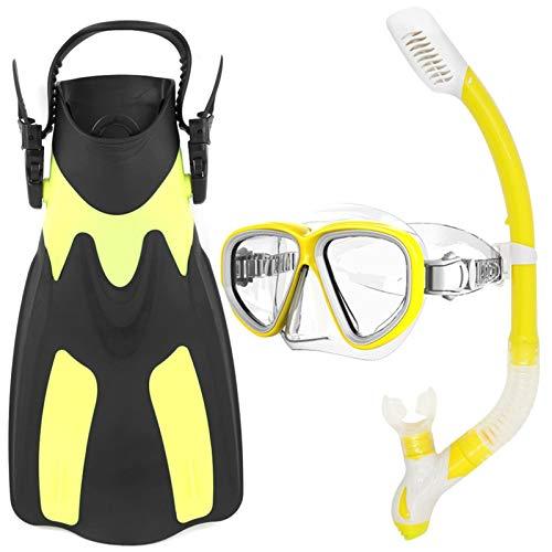MHSHKS Máscaras De Buceo Máscara De Snorkel Gafas De Buceo Aletas De Buceo Gafas De Esnórquel Juego De Aletas Paquete De Equipo De Snorkel con Aletas De Natación De Vidrio para Esnórquel para Adultos