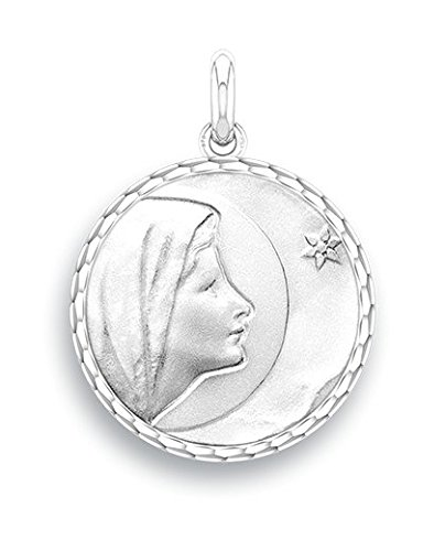 Virgen de Bethlehem-Medalla religiosa-oro blanco 9quilates-Diámetro: 17mm-www.diamants-perles.com