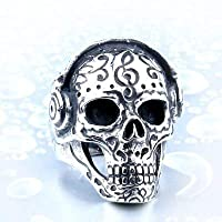 リング 指輪 メンズ ステンレスリング サージカルステンレス ヘッドフォン スカル 髑髏 音楽 ユニーク シルバー 16号(UKサイズ8)