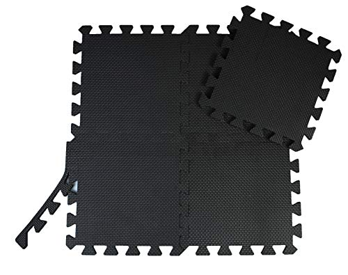 AlltagsHeld - Schutzmatten Fitness 30 x 30cm - Puzzlematten, Unterlegmatten, Fitnessmatten gegen Stöße und Lärm zum Einsatz im Fitnessraum und Kellerraum (Schwarz, 18 STK. 30x30x1,2 cm)