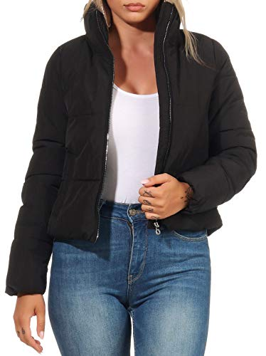 ONLY Damen Steppjacke ONLDolly Kurze Jacke mit hohem Kragen 15205371 Black M
