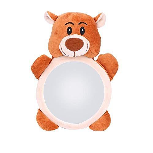 Espejo de Coche para bebés, Espejo Retrovisor Coche Bebe Espejo para Asiento Trasero Dibujos Animados Oso Patrón para el recién Nacido bebé Educativo de Peluche de Juguete en el Coche