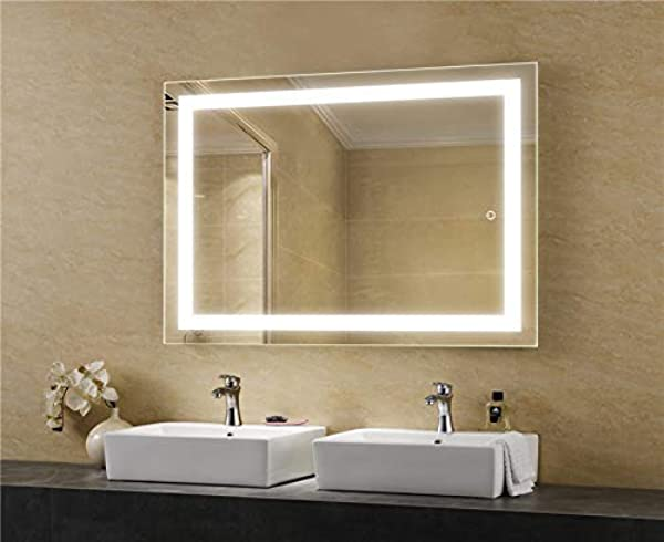 LEDMyplace LED Bathroom Lighted Mirror 36x48 Inch Lighted Vanity Mirror Includes Defogger Touch Switch Controls LED Light With On Off And CCT Remembrance ETL Listed Aluminium Structure