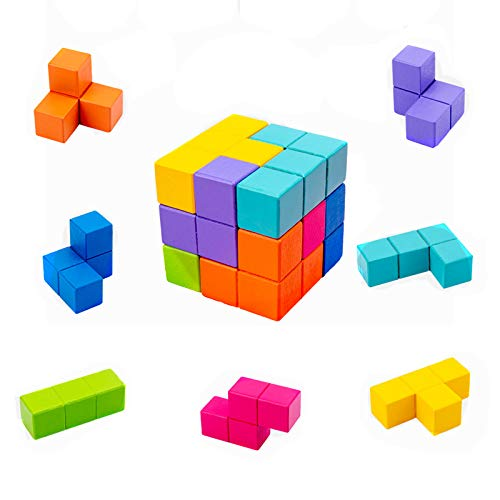 Creativa De Color Cubos De Madera del Enigma del Rompecabezas del Cubo 3D Pensamiento Tangram Puzzle Game Juego Pensamiento Crítico, Edad 3+
