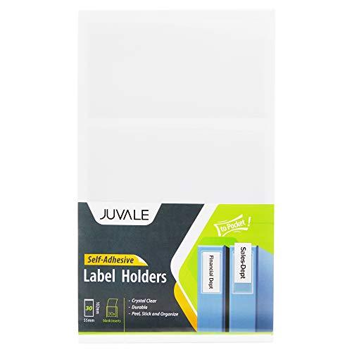 Juvale Bolsillos autoadhesivos para portaetiquetas con tarjetas de inserción en blanco (30 piezas) - Ideal para organizar e identificar - Transparente, 2.1 x 4 pulgadas