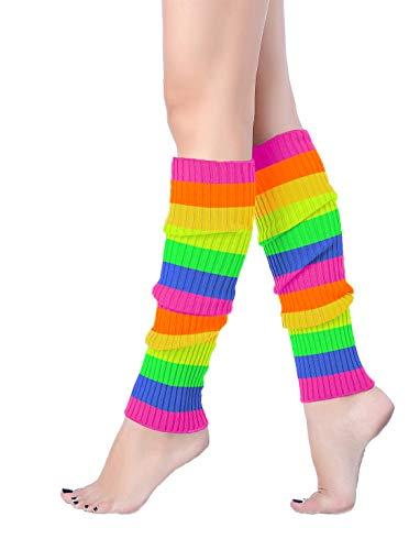 V28 Women 80s Party Warm Costume Marathon Knit Long Socks Leg Warmers (W46-color6)
