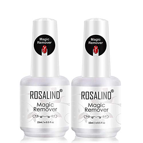 ROSALIND 2PCS Magic Remover Uñas, Eliminar de Forma Rápida y Sencilla Esmaltes Semipermanente Para Uñas, No Lastimar Tus Uñas, Quitaesmalte Profesional de No Irritante 15ml