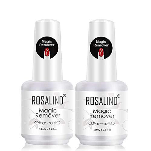 ROSALIND Gellack Entferner Set für UV Nagellack Magic Remover Aceton Peel Off 2 Stück 15ml Kit...