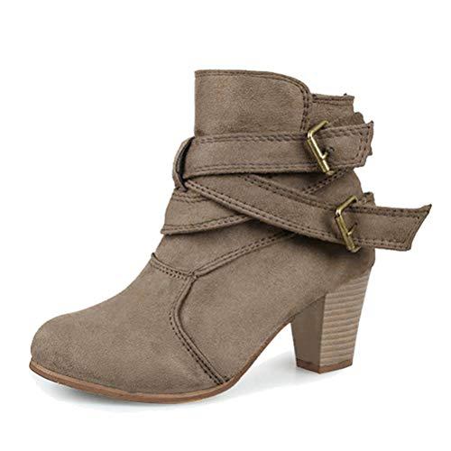 Minetom Damen Ankle Boots Trendige Stiefeletten Blockabsatz Winter Stiefel Mode Casual Elegant Schnalle Braun EU 40