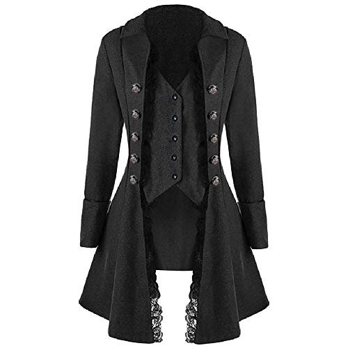nobrand Mode Gothic Plus Size Herren Jacke Langarm Herren Mantel Frack Jacke Gothic Gehrock Uniform Kostüm Party Oberbekleidung