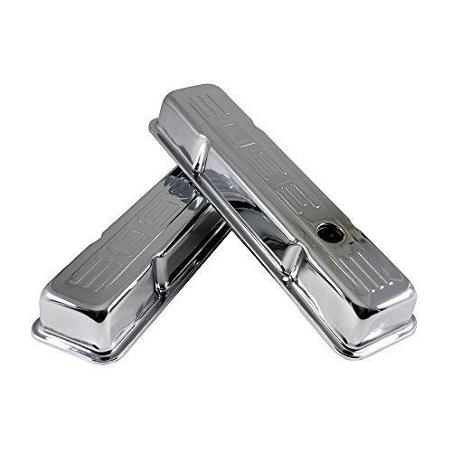 Assault Racing Products A9842 Small Block Chevy 350 Logo Chrome Steel Short Valve Covers SBC Pre-87