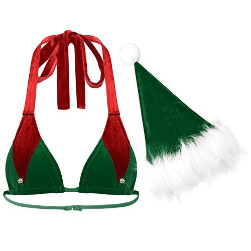 Freebily Disfraz de Duende Elfa de Pap Noel Mujer Disfraz de Navidad Lencera Sexy Sujetador Tringulo Cuello Halter con Gorro Verde XL