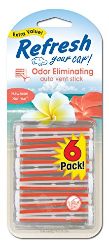 Refresh Your Car! E301448300 Auto Vent Stick, Hawaiian Sunrise, 6 Per Pack