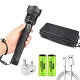 120000 Lumens Xhp70.2 Led Flashlight, Zoom Tactical Flashlight, USB Direct Charging 10000 Mah