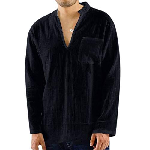 Herren Vintage Atmungsaktive Dünne V-Ausschnitt Solide Lose Brusttasche T Shirts Blusen