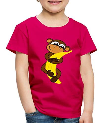 Spreadshirt Süßer AFFE Mit Banane Zeichnung Kinder Premium T-Shirt, 98-104, Dunkles Pink