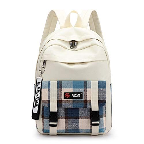 Canvas Plaid School Bag College Style Girl Backpack Junior High School and College Students Casual Canvas Backpack Style A Blue Plaid