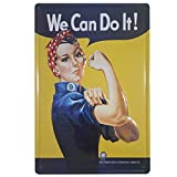 BOEMY Chapa Feminista We Can Do It | Poster Vintage Metálico con Relieve y Rígido | Cartel Feminista Retro | Medidas 20x30 cm.