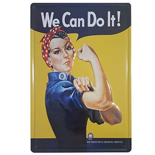 BOEMY Chapa Feminista We Can Do It | Poster Vintage Metálico con Relieve y Rígido | Cartel Feminista Retro | Medidas 20x30 cm.