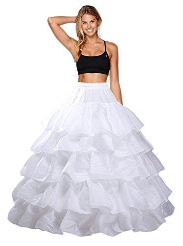 Enagua Aros Enaguas Enteras Cancan Enagua Crinolina para Mujer 4 Anillo 5 Flouncing Faldas Vestidos Underskirt cancán Enagua de la Boda Accesorios de la Boda Enaguas Petticoat (44, Blanco)