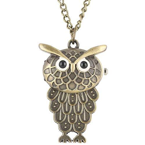 HANXIAO Taschenuhren Weinlese reizende Eulen-Form-Quarz-Taschenuhr-hängende Halsketten-Uhr-Strickjacke-Ketten-Geschenke für Jungen-Mädchen Kinder-Blau